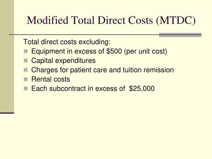 Modified Total Direct Costs (MTDC)