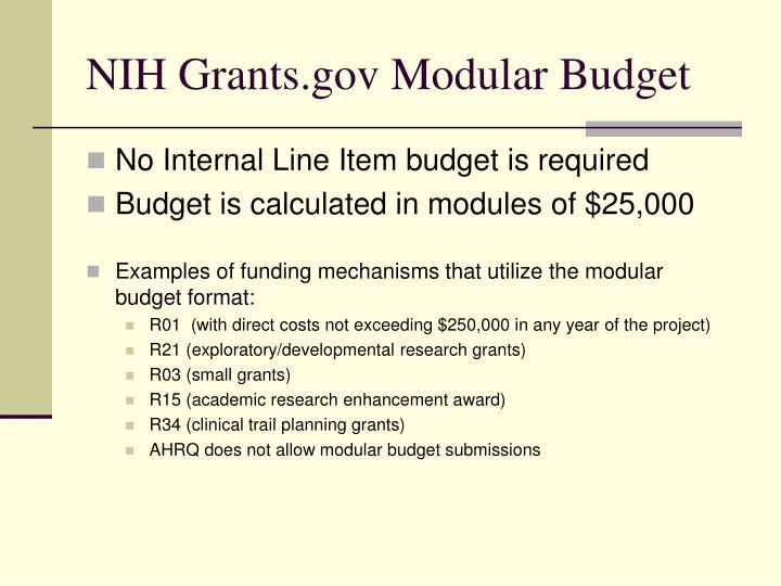NIH Grants.gov Modular Budget