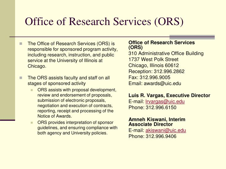 Office of research services ors