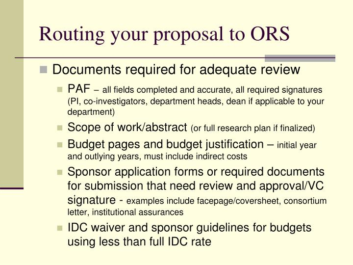 Routing your proposal to ORS