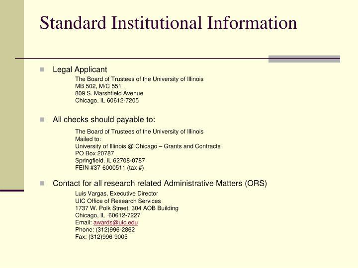 Standard Institutional Information