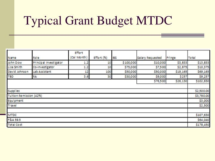 Typical Grant Budget MTDC