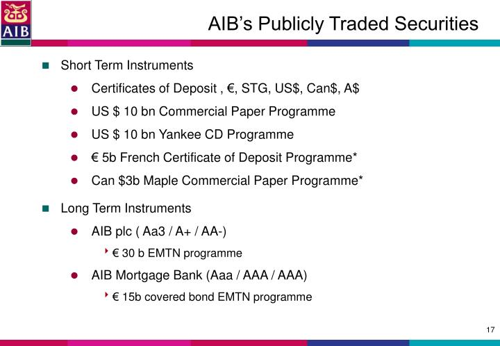 AIB's Publicly Traded Securities