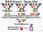 r d process status quo