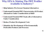 why epa is making the pbt profiler available to industry
