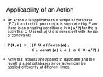 applicability of an action
