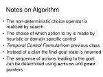 notes on algorithm