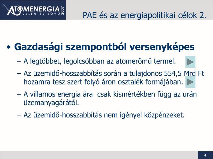 PAE és az energiapolitikai célok 2.