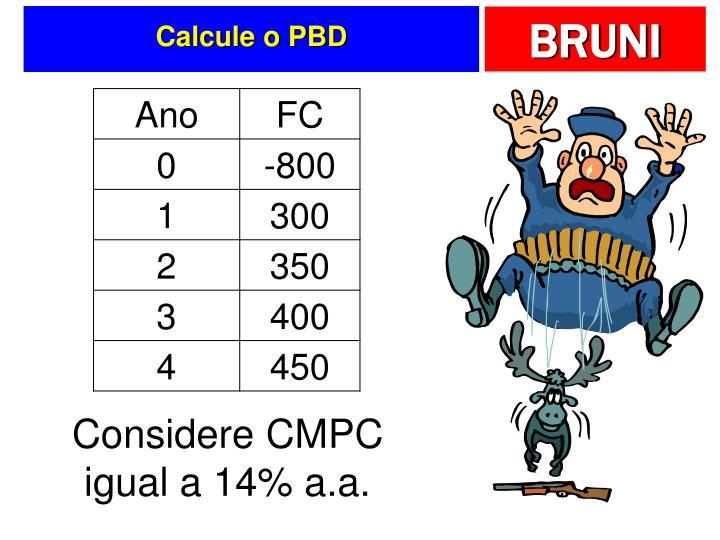 Calcule o PBD