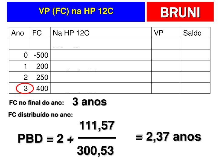 VP (FC) na HP 12C