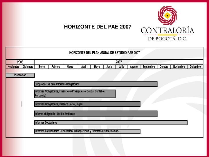 HORIZONTE DEL PAE 2007