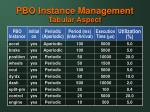 pbo instance management tabular aspect
