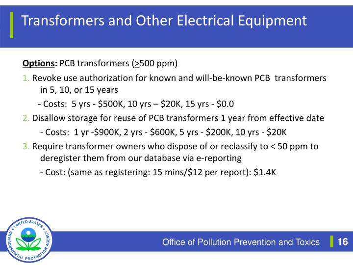Transformers and Other Electrical Equipment