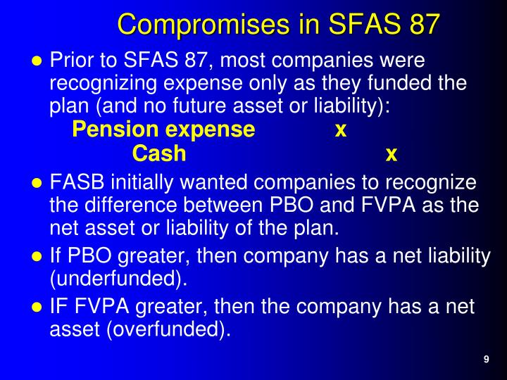 Prior to SFAS 87, most companies were recognizing expense only as they funded the plan (and no future asset or liability):
