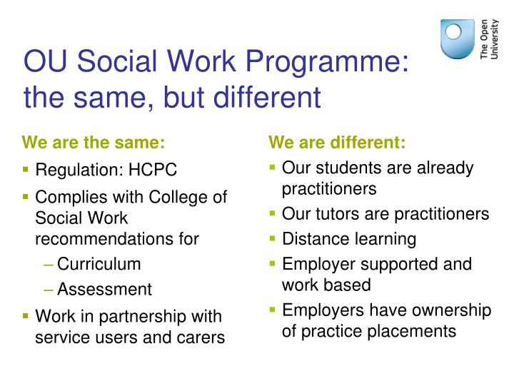 Ou social work programme the same but different
