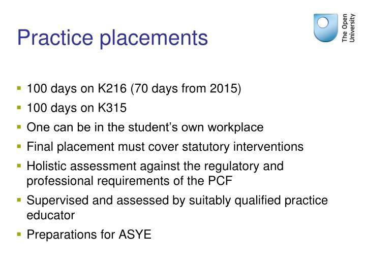 Practice placements