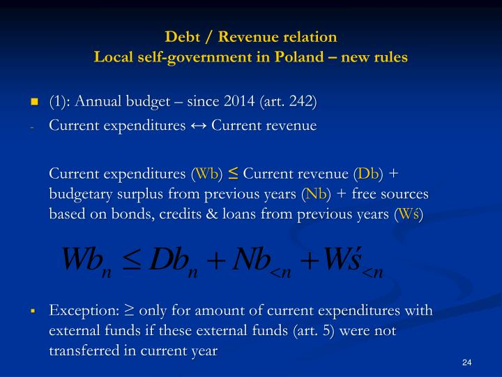 Debt / Revenue relation