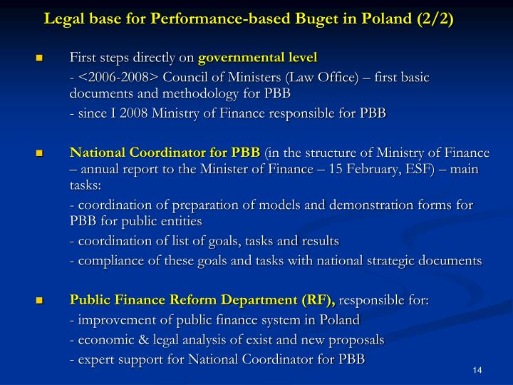 Legal base for Performance-based Buget in Poland (2/2)