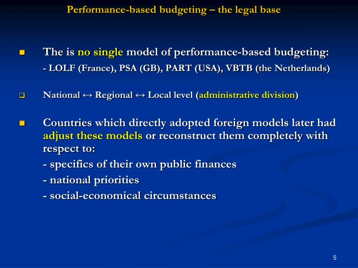 Performance-based budgeting – the legal base