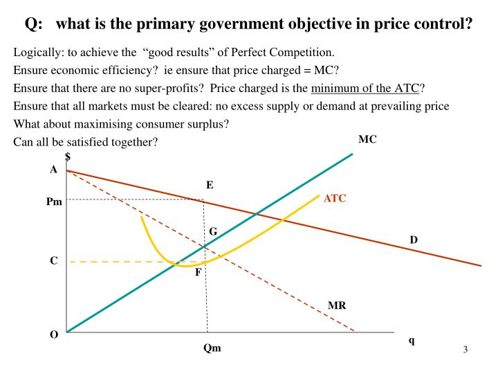 Q what is the primary government objective in price control
