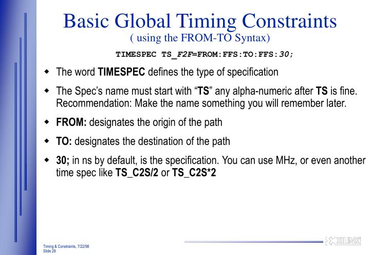 Basic Global Timing Constraints