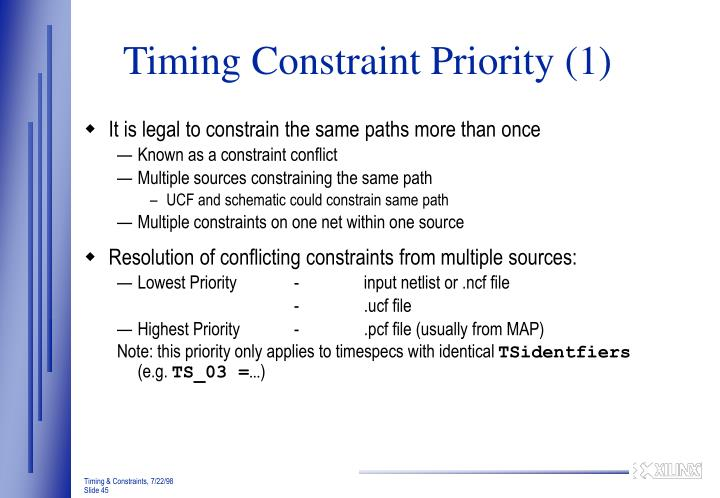 Timing Constraint Priority (1)