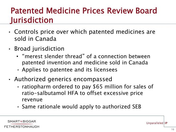 Patented Medicine Prices Review Board Jurisdiction