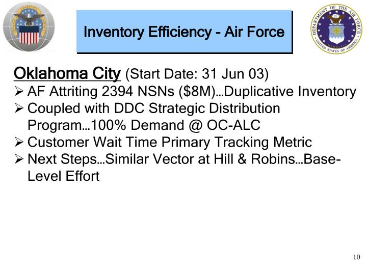 Inventory Efficiency - Air Force
