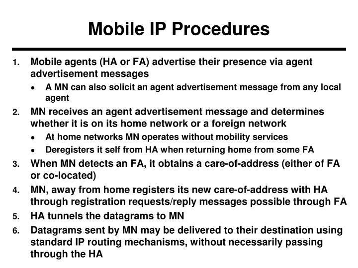 Mobile IP Procedures