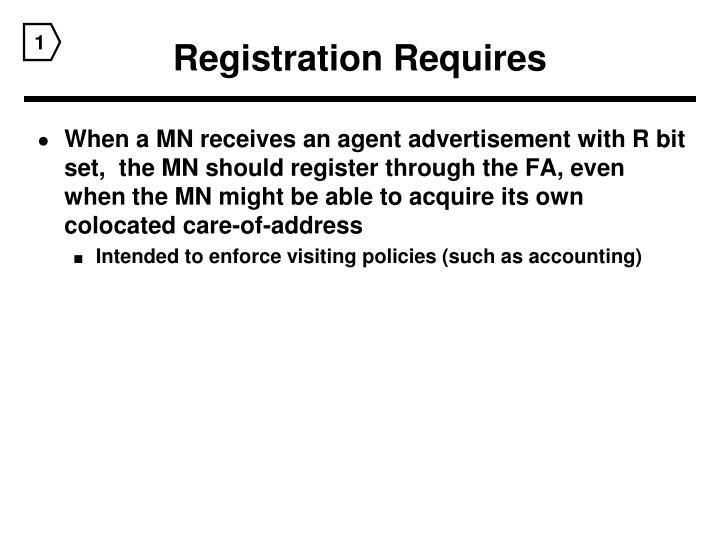 Registration Requires