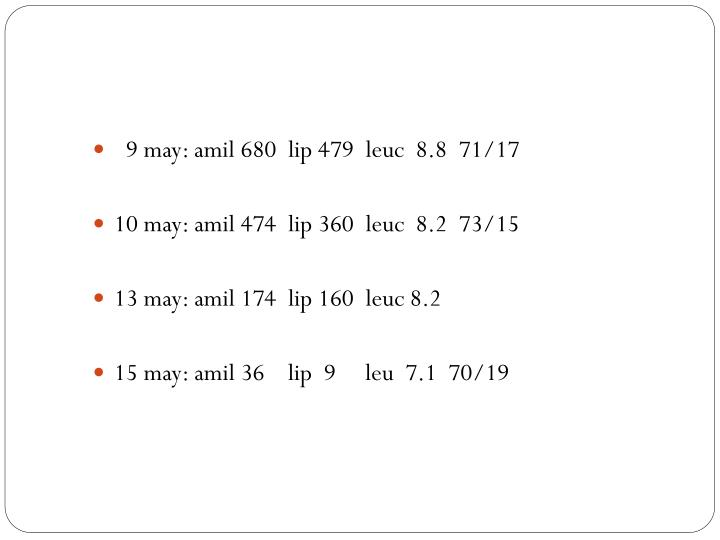 9 may: amil 680  lip 479  leuc  8.8  71/17
