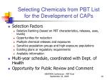 selecting chemicals from pbt list for the development of caps