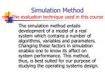 simulation method the evaluation technique used in this course