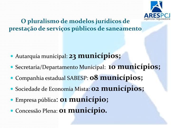O pluralismo de modelos jurídicos de prestação de serviços públicos de saneamento