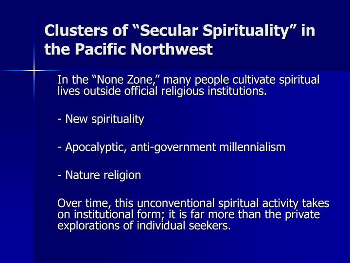 """Clusters of """"Secular Spirituality"""" in"""