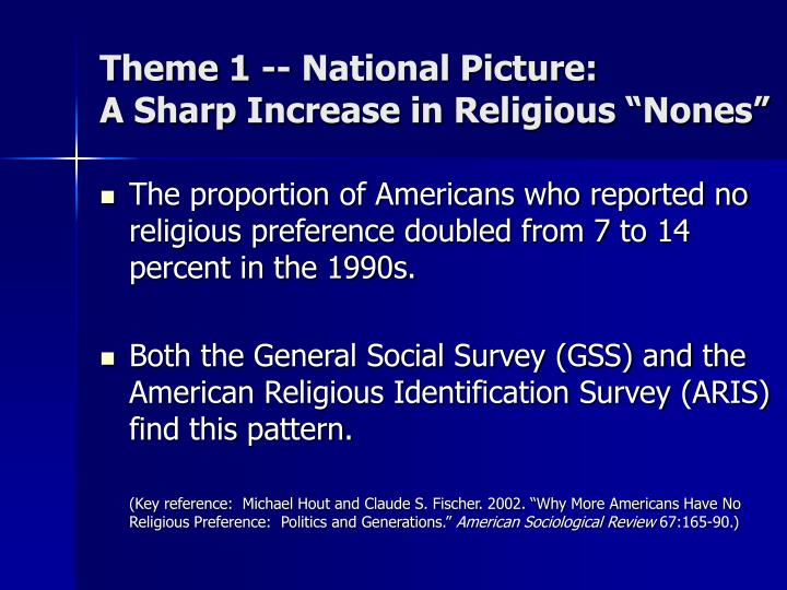 Theme 1 national picture a sharp increase in religious nones
