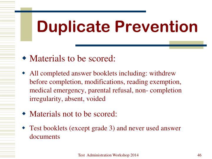 Duplicate Prevention
