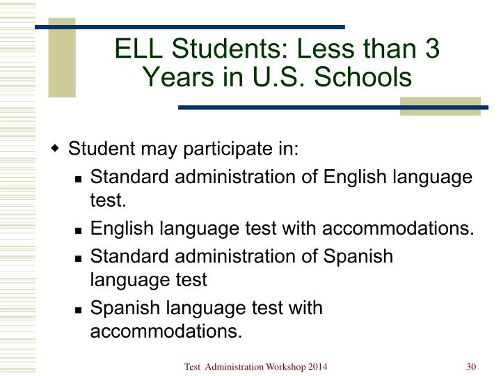 ELL Students: Less than 3 Years in U.S. Schools