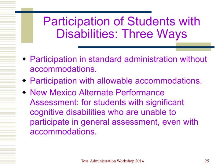 Participation of Students with Disabilities: Three Ways