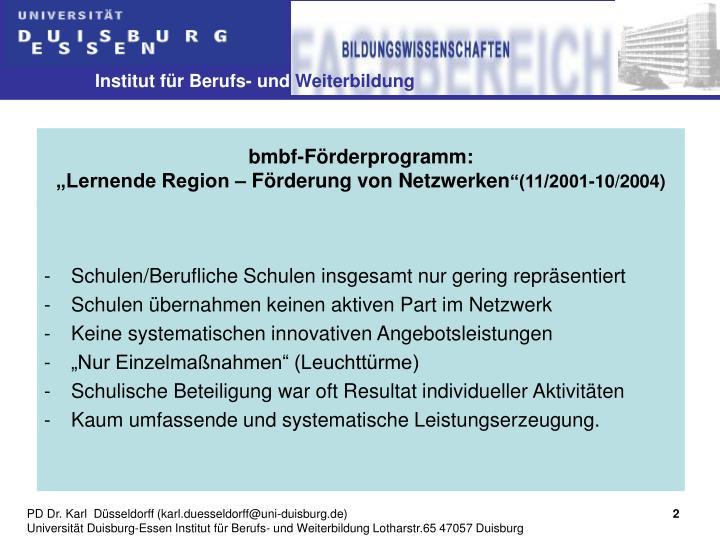 Bmbf f rderprogramm lernende region f rderung von netzwerken 11 2001 10 2004