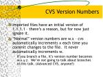 cvs version numbers