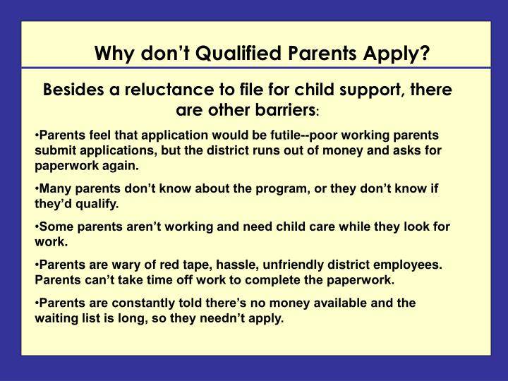 Why don't Qualified Parents Apply?