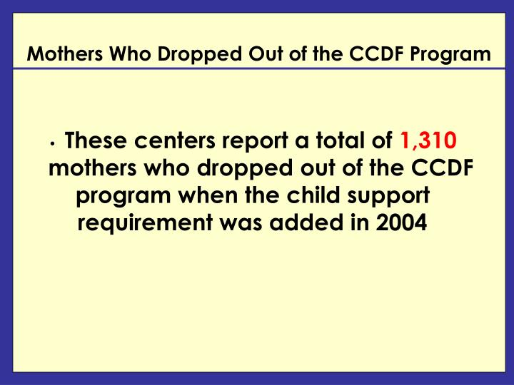 Mothers Who Dropped Out of the CCDF Program