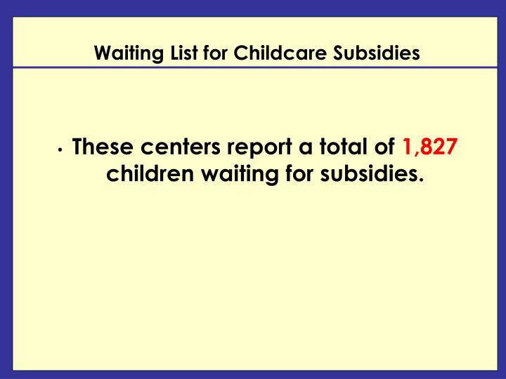 Waiting List for Childcare Subsidies