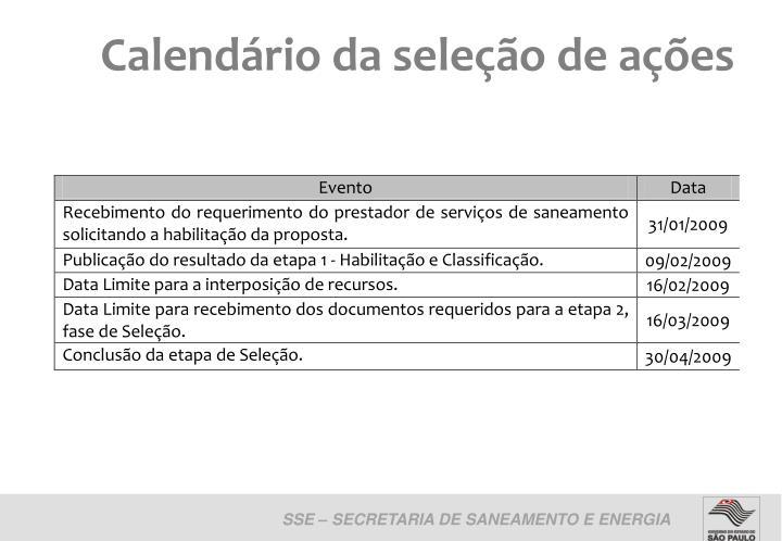 Calendário da seleção de ações