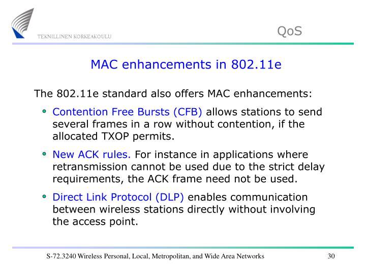 MAC enhancements in 802.11e