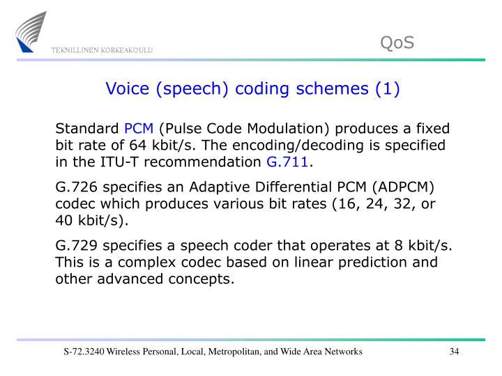 Voice (speech) coding schemes (1)