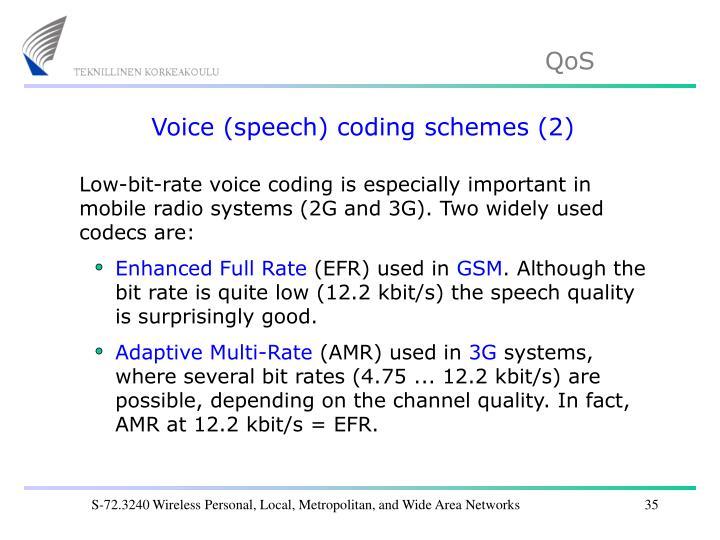 Voice (speech) coding schemes (2)