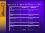 operator aritmetik untuk vb6