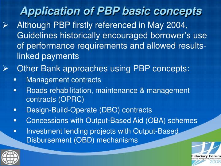 Application of PBP basic concepts